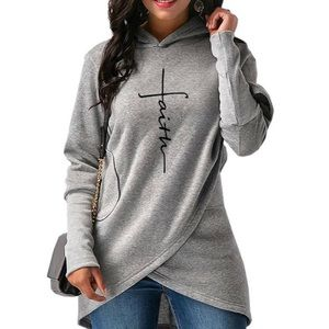 Sweaters - Faith Curved Hem Hoodie Sweater - Gray